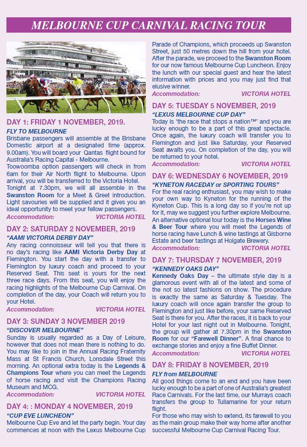 """Gunsynd Tours » """"The 27th Pat O'Shea"""" Melbourne Cup Carnival"""